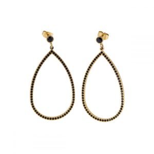 Earrings Carrie Gold Black - Ingnell Jewellery